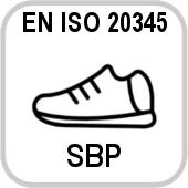 EN ISO 20345 : 2012 SBP - La norma specifica i requisiti di base e supplementari (facoltativi) per le calzature di sicurezza per usi generali. Essa include, tra gli altri, rischi meccanici, resistenza allo scivolamento, rischi termici e comportamento ergonomico. I sistemi di classificazione per indicare il tipo di protezione fornita sono i seguenti: SB: La presenza di un puntale di sicurezza per la protezione contro le lesioni da impatto sulle dita dei piedi, causate da caduta di oggetti. Il livello di protezioen previsto è di 200 Joule. Prevenzione delle lesioni di compressione per le dita dei piedi, se intrappolate sotto un oggetto pesante. Il livello di questa protezione è di 15 kN. SBP: come standard SB più resistenza alla perforazione. S1: come standard SB più tallone avvolgente. Proprietà anti-statiche e assorbimento delle vibrazioni nel tallone. S1P: come standard S1 più resistenza alla perforazione. S2: Come standard S1 più resistenza alla perforazione ed assorbimento dell'acqua. S3: come standard S2 più tacco resistente alal perforazione. S4: puntale di protezione 200 Joule. Scarpe in gomma o polimerici con proprietà antistatiche. Assorbi vibrazioni nel tallone. S5: come standard S4 più suola resistente alla perforazione.